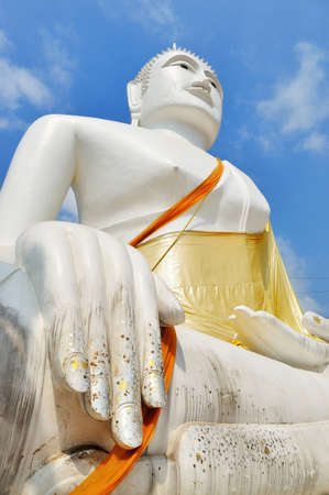 Big white buddha image statue at Nakornpathom province Thailand  Stock Photo