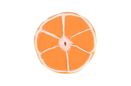 orange background from slices of juicy plasticine oranges Stock Photo