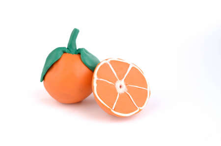 orange slices of juicy plasticine oranges