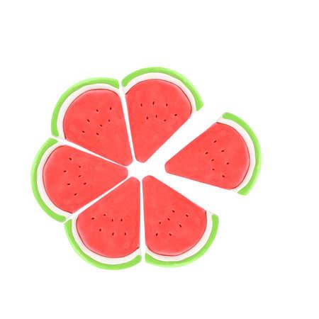 Slice of plasticine watermelon on a white background  photo