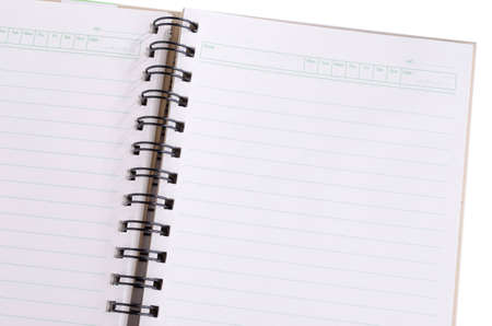 Closeup blank notebook Isolated with day of week