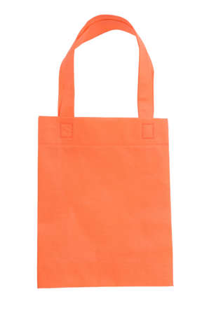 orange fabric bag islated on white background