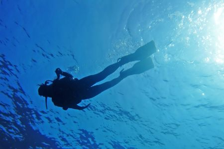 Silhouette of a diver in blue sea viewed from below
