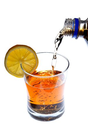 bartend: Pouring a refreshing drink into a glass from bottle