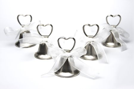wedding bells: Group of wedding bells on white background Stock Photo
