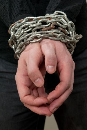 Front view of hands in chains Stock Photo - 6911152