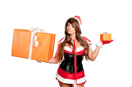 Sexy girl Santa holding a gift in each hand