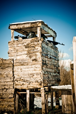 Airsoft players protecting the tower Stock Photo