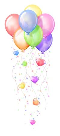 Geburtstag Ballons mit Herzen Standard-Bild - 11076759