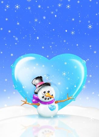 greeting: Snowman Love Christmas greeting Card (boy) Stock Photo