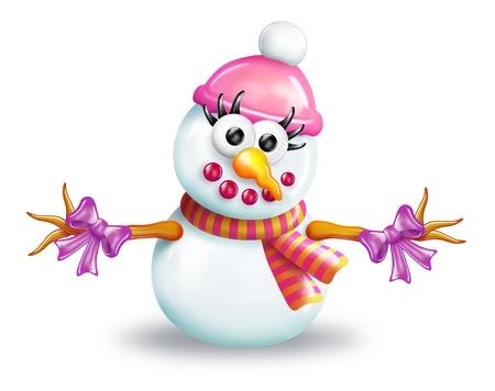 A digital illustration of a girl snowman.