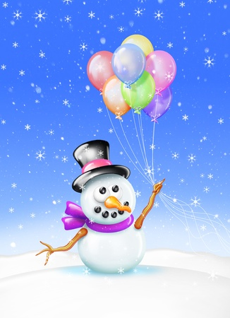 A Holiday Greeting Card featuring a snowman and balloons. Perfect for a  birthday or Christmas. Stock Photo