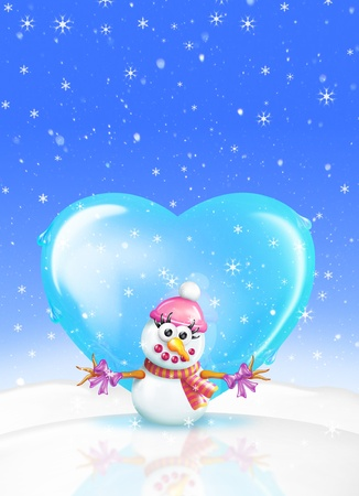 A romantic Snowman Christmas Greeting Card featuring a snowman (girl) and heart.