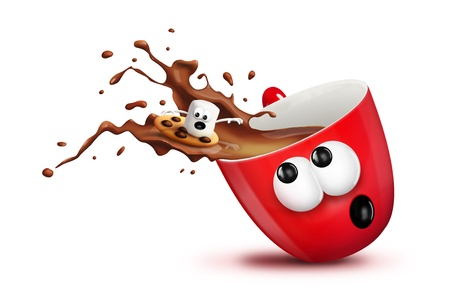 A Christmas mug with spilling hot chocolate and a marshmallow surfing it.