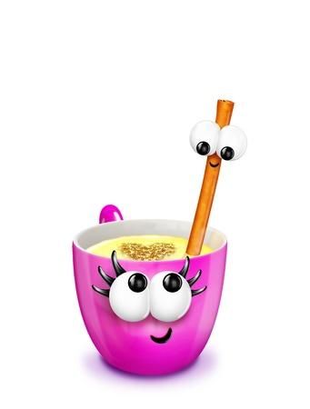 A cartoon mug filled with eggnog and a cinnamon stick. Including a cinnamon heart in the eggnog.