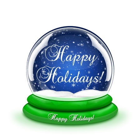 holiday: Happy Holidays Snow Globe Stock Photo