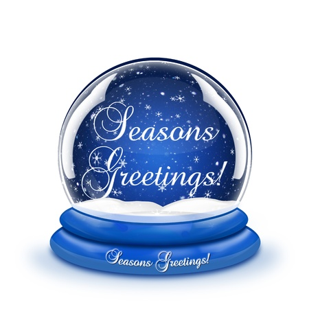 Seasons Greetings Snow Globe Stock Photo