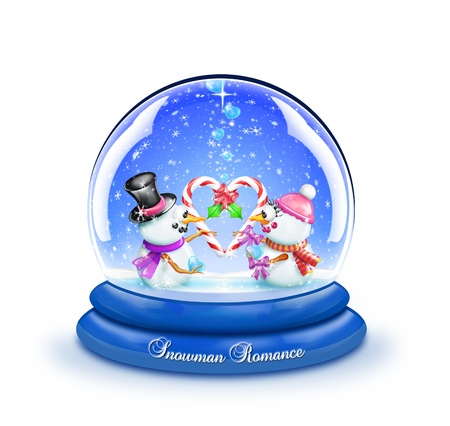 Snowman Candy Cane Romance Snow Globe photo