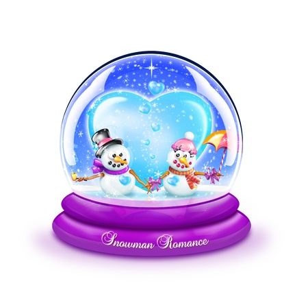 Snowman Romance Snow Globe photo