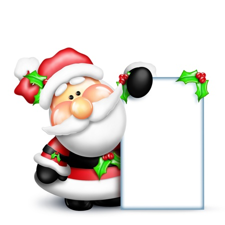 Gumdrop Santa Holding a Tall Sign