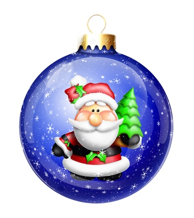 Gumdrop Cartoon Santa in Christmas Ball Ornament