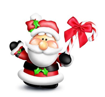 kringle: Gumdrop Cartoon Santa Holding Candy Cane