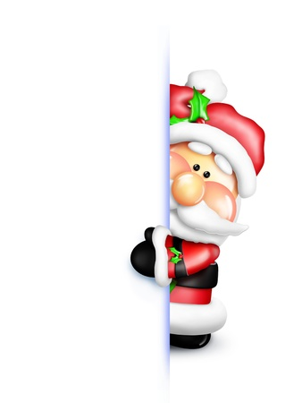clip art santa claus: Gumdrop Santa Peeking Around