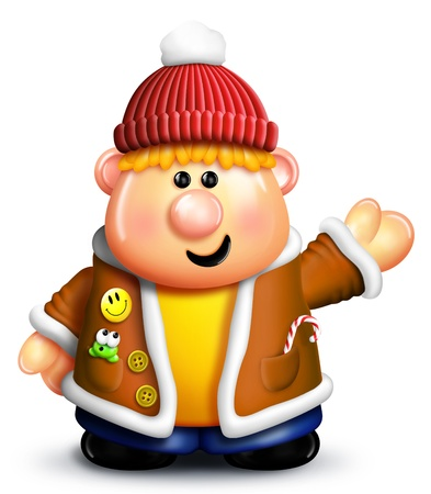 Cartoon Boy with Winter Clothes photo