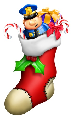 Cartoon Christmas Stocking for Boy with Toys Stock Photo