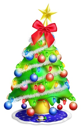 Cartoon Christmas Tree with Ornaments Stock Photo