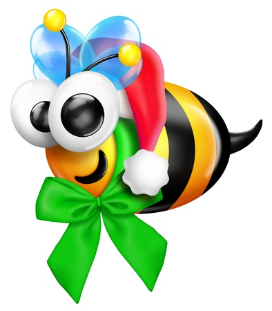 Whimsical Christmas Bee with Santa Hat Imagens