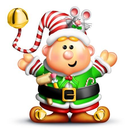 Lunatique Elf de Noël avec la souris Banque d'images - 14963848