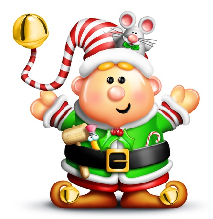 Whimsical Christmas Elf with Mouse Фото со стока