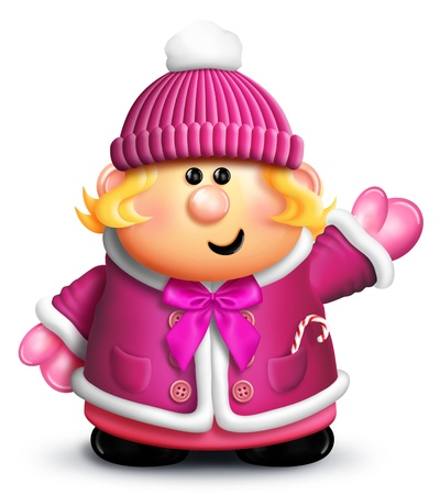 Whimsical cartoon Girl in Winter Clothes Stock Photo - 14963871