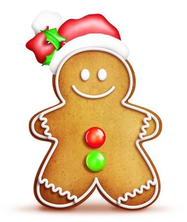 Whimsical Cartoon Gingerbread Man with Santa Hat