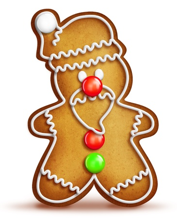 Whimsical Cartoon Santa Gingerbread Man Imagens
