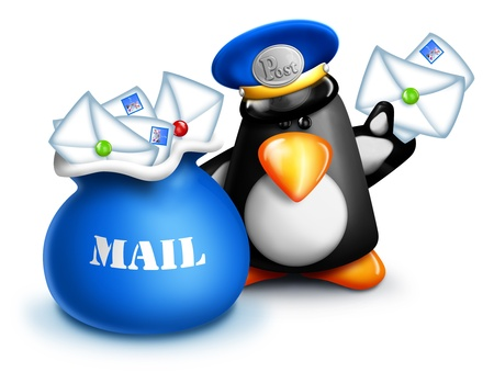 Cartoon Penguin Mailman with Letters and Mail Bag Stock Photo - 14963877
