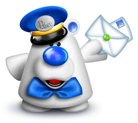 mailman: Cartoon Polar Bear Mailman with Letters Stock Photo