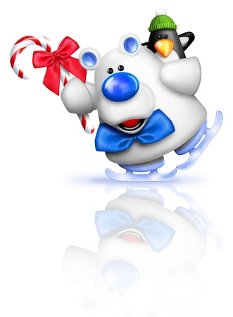 Cartoon Polar Bear Ice Skating with Penguin Holding Candy Cane photo