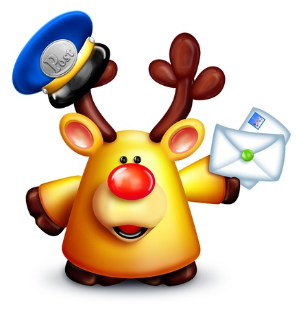 Cartoon Reindeer Mailman with Letters
