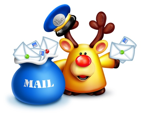Cartoon Reindeer Mailman with Mail Bag and Letters Stock Photo - 14963881