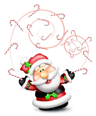 Whimsical Cartoon Santa Juggling Candy Canes Stock Photo - 14963870