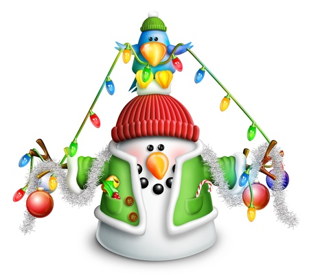 whimsical: Cartoon Snowman with Christmas Lights and Garland Stock Photo