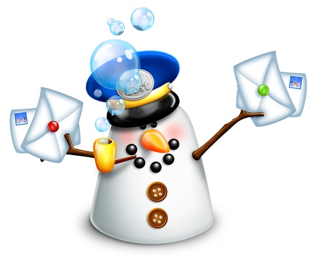 Christmas Snowman Mailman with Letters