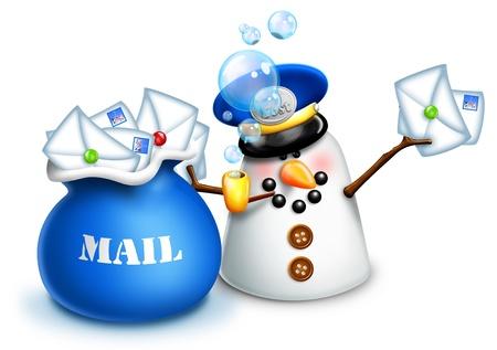 메일 가방과 편지와 함께 크리스마스 눈사람 우체부