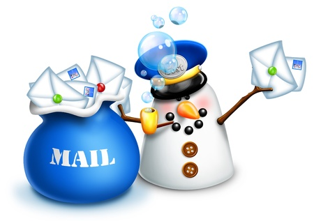 Christmas Snowman Mailman with Mail Bag and Letters photo