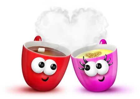 Cartoon Cups van Hot Chocolate en Egg Nog in Love Stockfoto
