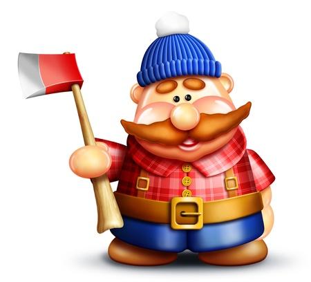 Whimsical Cartoon Lumberjack Фото со стока