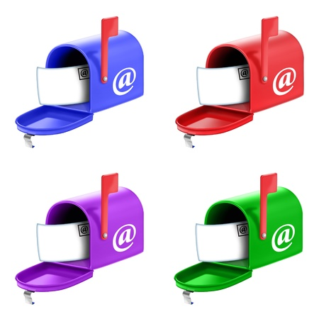 illustrated: Illustrated Open Mailbox with Letter Email Icon Stock Photo