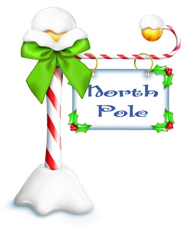 Whimsical Cartoon North Pole Sign Stock Photo
